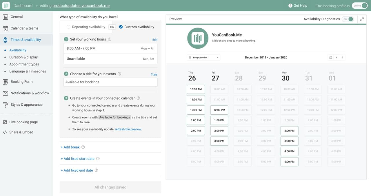 Complete control over your schedule