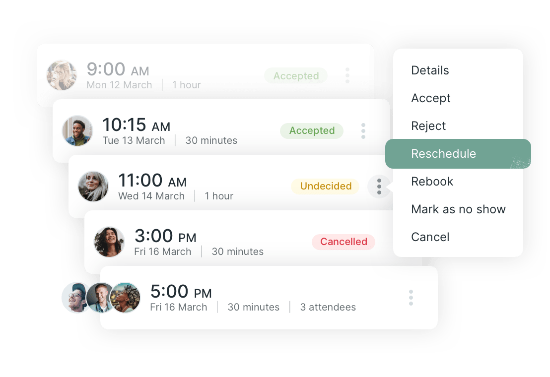 Easily cancel, reschedule or rebook appointments
